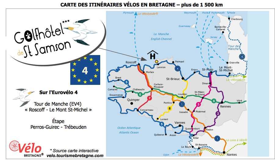 Carte Bretagne Velo.Cyclists Cycling Holidays Golf Hotel